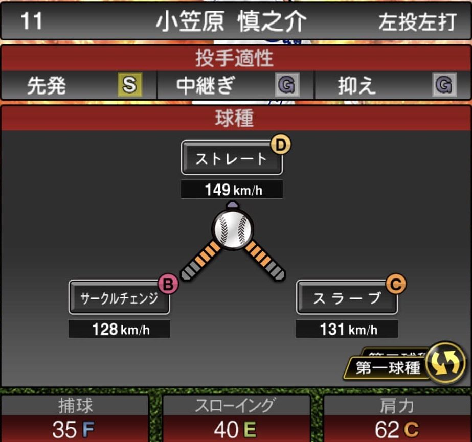 プロスピ小笠原慎之介2019シリーズ1球種ステータス