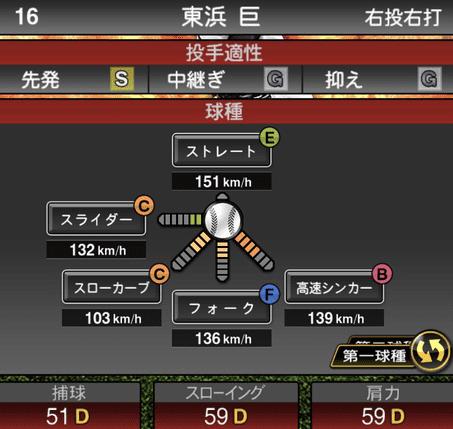 プロスピ東浜巨2019シリーズ1球種ステータス