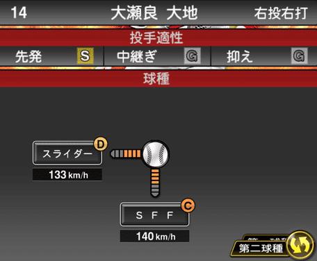 プロスピ大瀬良大地2019シリーズ1球種ステータス