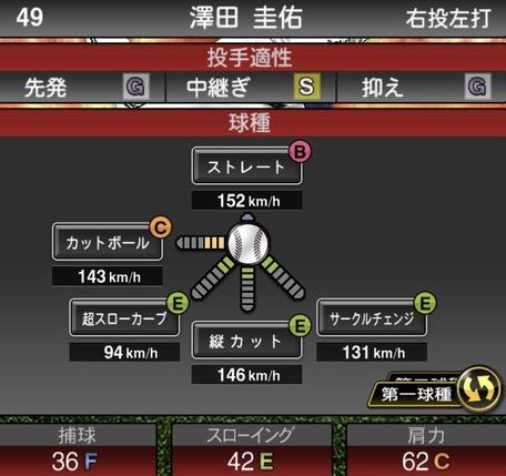 プロスピ澤田圭佑2019シリーズ1球種ステータス
