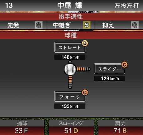 プロスピ中尾輝2019シリーズ1の球種ステータス