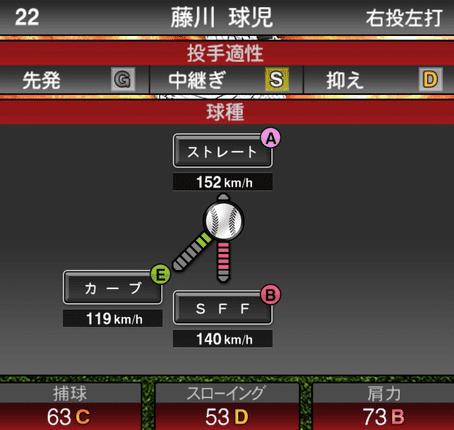 プロスピ藤川球児2019シリーズ1の球種