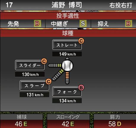 プロスピ浦野博司2019シリーズ1の球種ステータス