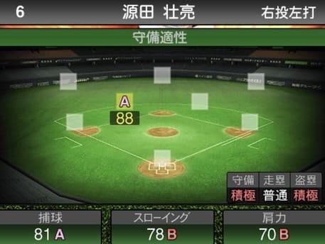 プロスピ源田壮亮2019シリーズ1の守備評価