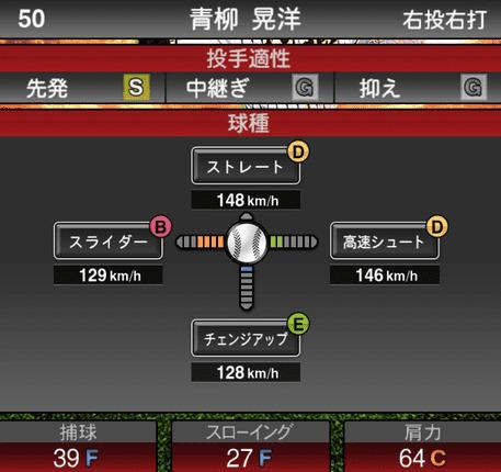 プロスピA青柳晃洋2019年シリーズ1の球種ステータス