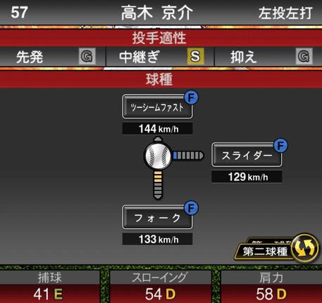 プロスピA高木京介2019年シリーズ1の第二球種ステータス