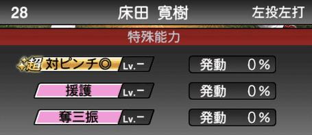 プロスピA床田寛樹2019年シリーズ1の特殊能力評価