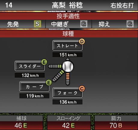 プロスピA高梨裕稔2019年シリーズ1の第一球種ステータス