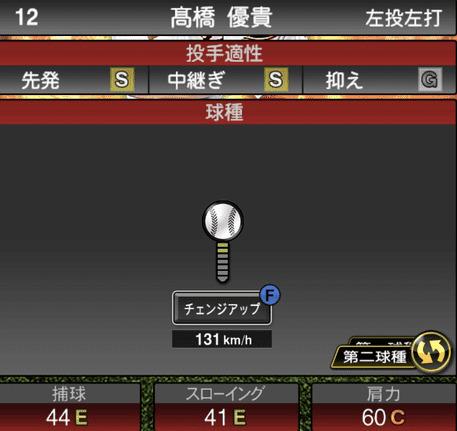 プロスピA高橋優貴2019年シリーズ1の第二球種ステータス