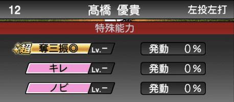 プロスピA高橋優貴2019年シリーズ1の特殊能力評価