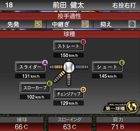 プロスピA2019シリーズ2ワールドスターセレクション前田健太の球種
