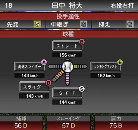 プロスピA2019シリーズ2ワールドスターセレクション田中将大の球種