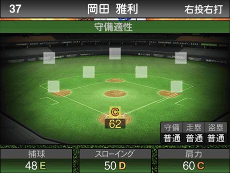 プロスピ岡田雅利2019シリーズ1の守備評価