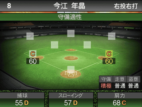 プロスピA今江年晶2019シリーズ1の守備評価