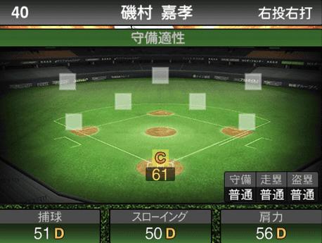 プロスピA磯村嘉孝2019シリーズ1の守備評価