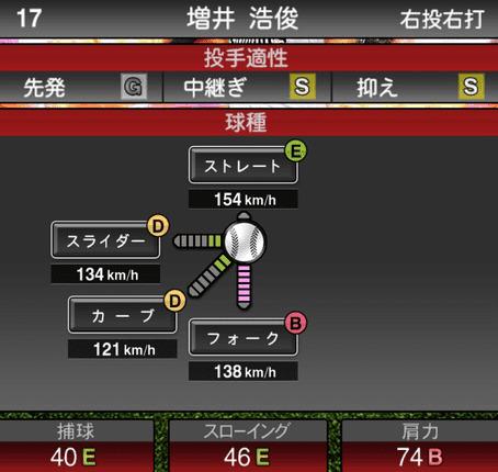 プロスピA増井浩俊2019年シリーズ2の第一球種ステータス