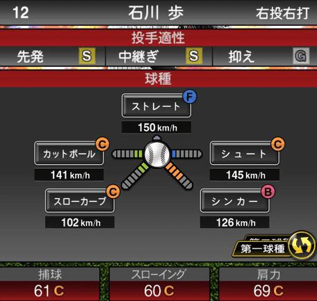 プロスピA石川歩2019年シリーズ2の第一球種ステータス