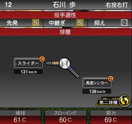 プロスピA石川歩2019年シリーズ2の第二球種ステータス