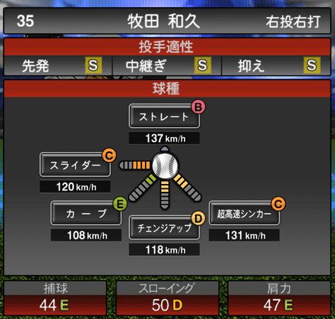 プロスピAワールドスター2019牧田和久ステータス