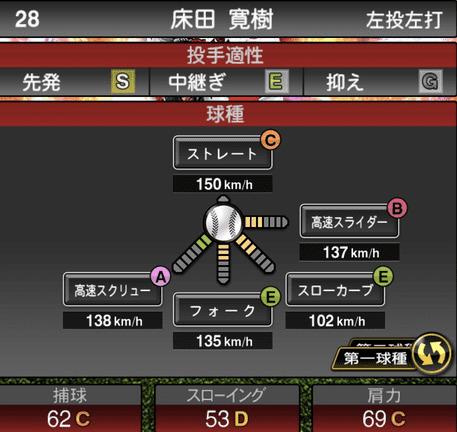 プロスピA床田寛樹2019年シリーズ2の第一球種のステータス
