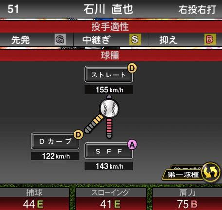 プロスピA石川直也2019年シリーズ2の第一球種のステータス