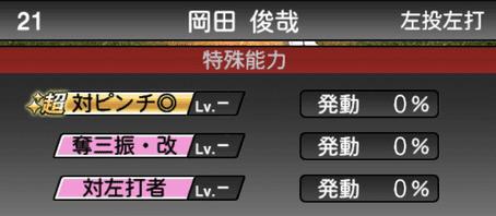 プロスピA岡田俊哉2019年シリーズ2の特殊能力