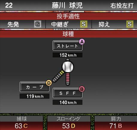 プロスピA藤川球児2019年シリーズ2の第一球種ステータス