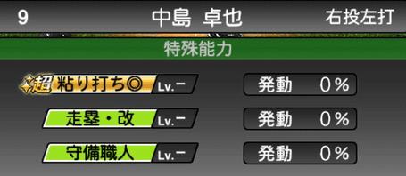 プロスピA中島卓也シリーズ2の特殊能力評価