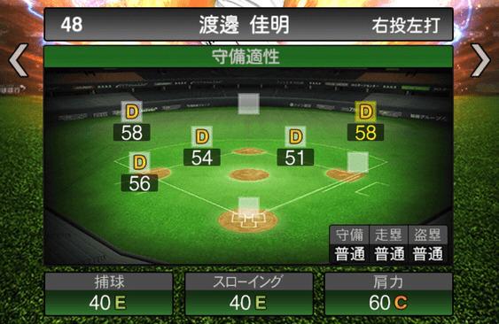 プロスピA渡邊佳明2019シリーズ2の守備評価