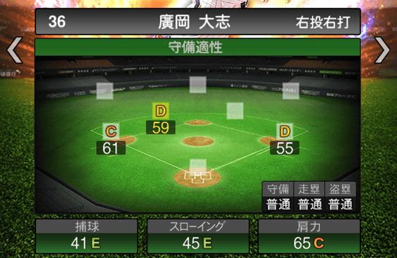プロスピA廣岡大志2019シリーズ2の守備評価