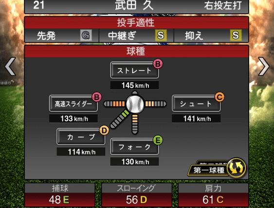 プロスピA武田久2019年シリーズ2の第一球種のステータス