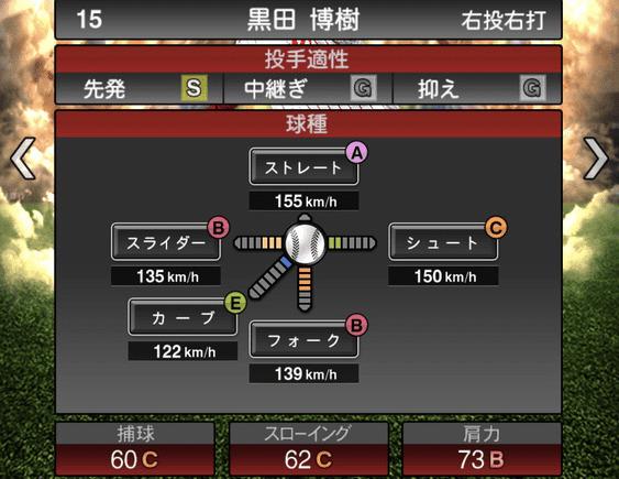 プロスピA黒田博樹2019年シリーズ2の第一球種のステータス