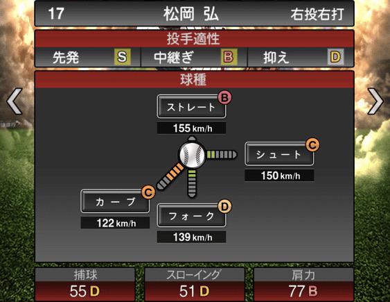 プロスピA松岡弘2019年シリーズ2の第一球種のステータス
