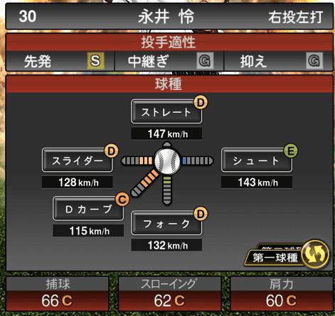 プロスピA永井怜2019年シリーズ2OB第5弾の第一球種のステータス