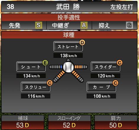 プロスピA武田勝2019年シリーズ2OB第5弾の第一球種のステータス