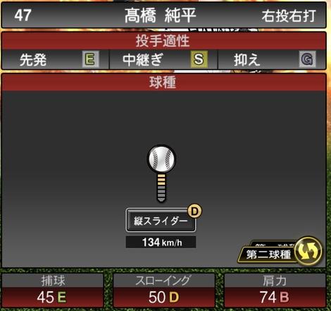 プロスピA高橋純平2020年シリーズ1の第二球種のステータス