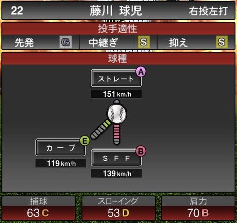 プロスピA藤川球児2020年シリーズ1の第一球種のステータス