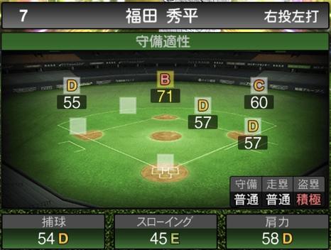 プロスピA福田秀平2020シリーズ1の守備評価