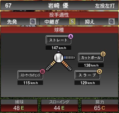 プロスピA岩崎優2020年シリーズ1の第一球種のステータス