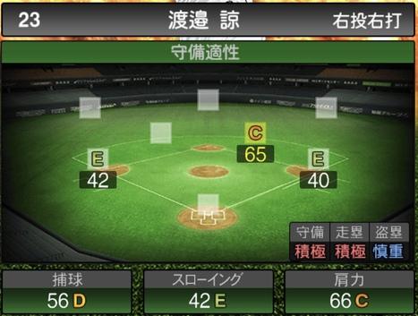 プロスピA渡邉諒2020シリーズ1の守備評価