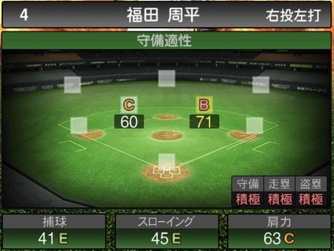 プロスピA福田周平2020シリーズ1の守備評価