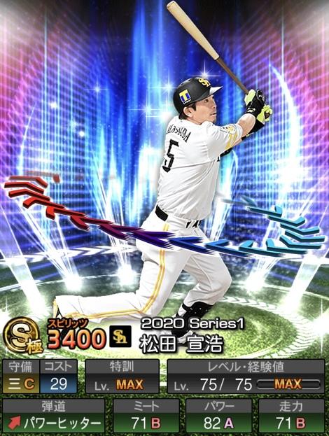 プロスピAソフトバンク松田宣浩2020年シリーズ1エキサイティングプレイヤー(EX)第2弾の評価