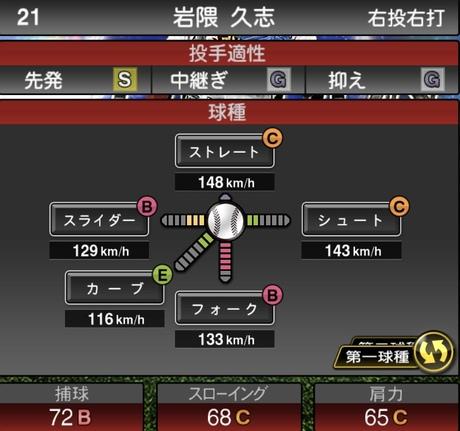 プロスピAセレクション岩隈久志2020シリーズ1の第一球種