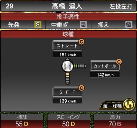 プロスピA髙橋遥人2020シリーズ1の第一球種