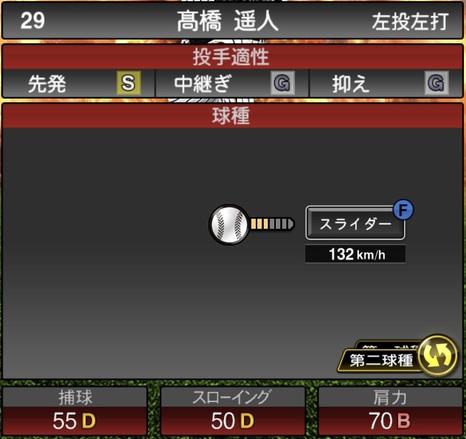 プロスピA髙橋遥人2020シリーズ1の第二球種