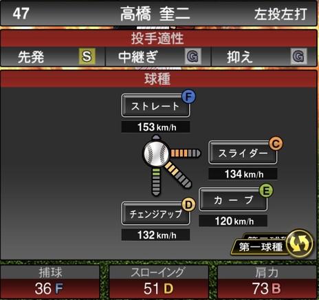 プロスピA高橋奎二2020シリーズ1の第一球種