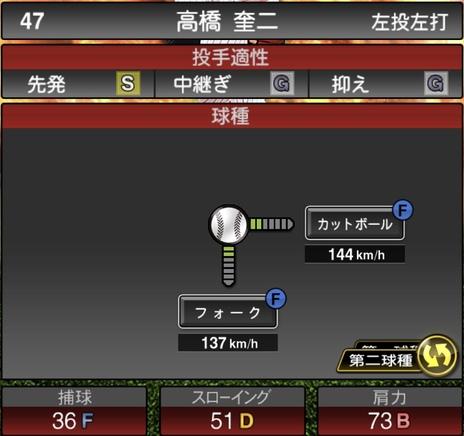 プロスピA高橋奎二2020シリーズ1の第二球種