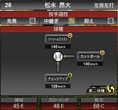 プロスピA松永昴大2020シリーズ1の第二球種