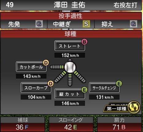 プロスピA澤田圭佑2020シリーズ1の第一球種