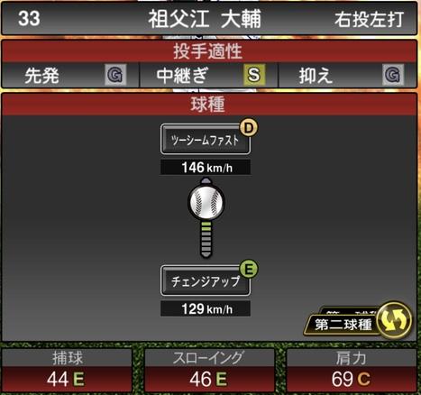 プロスピA祖父江大輔2020シリーズ1の第二球種